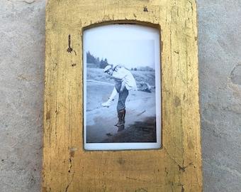 Vintage Wood Frame Gold Gilt Rustic Shadow Box Frame