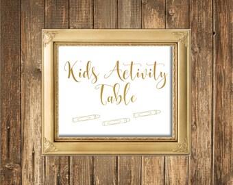 REAL Gold Foil Wedding Sign-Kids Activity Table Sign-Gold Foil Printed Wedding Signs