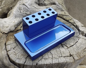 Solid Wood Pencil Holder - Office Organizer - Premium Quality - Handmade - Cosmetics Caddie - Pencil Holder Etc - Electric Blue Pearl