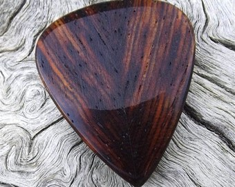 Wood Guitar Pick - Premium Quality - Handmade With Cocobolo Rosewood - Bookmatched - Actual Pick Shown - Artisan Guitar Pick