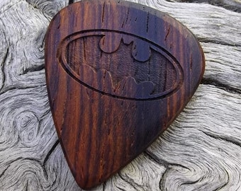 Handmade Premium Laser Engraved Wood Guitar Pick - Cocobolo Rosewood - Actual Pick Shown - Engraved Both Sides