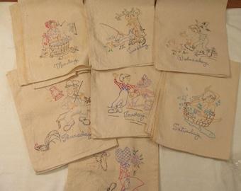"Unusual Set of 7 Vintage Flour Sack Towels ""Days of the Week"" Hillbilly Style -"