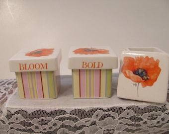 Set of 3 Small Ceramic Boxes Designed by Marjolein Bastin for Hallmark - Gift - Desk Storage