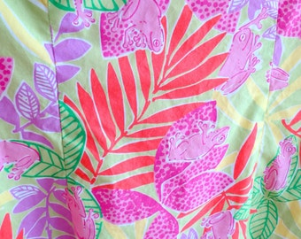Lilly Pulitzer Beach Classic Shift Dress Lime Green Pink Froggy print Cotton  size 8p
