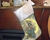 Steampunk Faerie Art, Satin Holiday Stocking