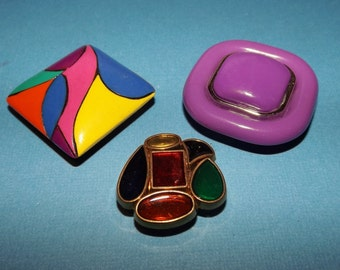 Set of 3 Colorful Vintage Jewelry Magnets Purples!