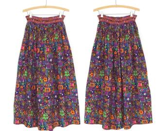 60s Maxi Skirt * Vintage 1960s Skirt * Psychedelic Skirt * Large