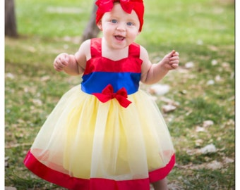 Snow White Dress: red blue & yellow lined tutu dress, wrap around easy on off, costume birthday or parks trip, adjustable, princess dinner