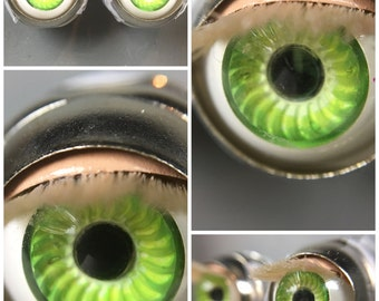 Custom American Girl Bitty Baby Eyes - Spting Green with Light Lids