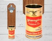 Yuengling Wall Mounted Bottle Opener with Vintage 149th Year Beer Can Cap Catcher - Great Gift for Groomsmen