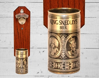 King Snedley's Wall Mounted Bottle Opener with Vintage Beer Can Cap Catcher