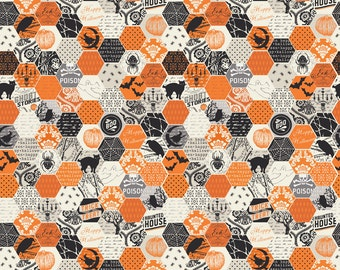 "haunting hexagon ORANGE by Riley Blake Designs  - 31"" piece"