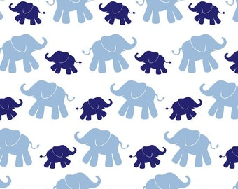 Cute Elephant - Navy/Blue-Flannel Print Fabric by David Textiles - you choose the cut