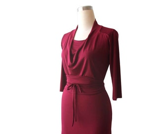 SALE, Summer dress, Cowl neck dress, Burgundy dress, 3/4 sleeve, Knee length dress, Obi belt, Ready to ship, Size M/L, US 10-12, SALE dress