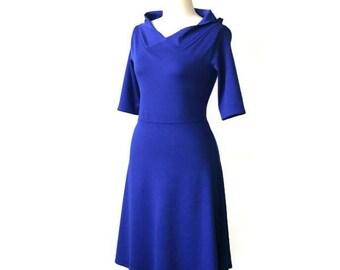 Plus size Jersey dress, Blue jersey dress, Day dress, Long sleeve Hoodie dress, Casual dress, A line dress, Plus size clothing, V neck dress