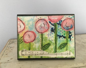 Collage art, mixed media print mounted on wood,Believe in the beautiful, pink poppies