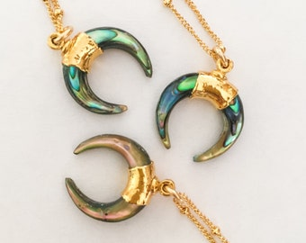 Gold Dipped Paua Abalone Double Crescent Moon Necklace