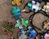 Dichroic Glass Puzzle Piece, Autism Awareness
