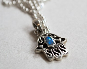 Hamsa silver necklace, hand of fatima necklace, Blue Opal Necklace, gemstone necklace, charm pendant, ethnic charm - A place to hide N2021