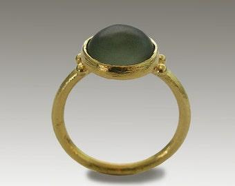 Solid Gold engagement ring, 14k gold ring, green Jade ring, unique engagement ring, gemstone ring, boho ring, modern - Green Ocean RG1769-1