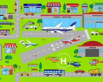 Connector Playmats At the Airport Panel by Deborah Edwards for Northcott Studio