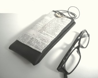 Newspaper or dictionary fabric eyeglass case, black faux leather eyewear holder, spectacles cover with pocket, script fabric glasses case