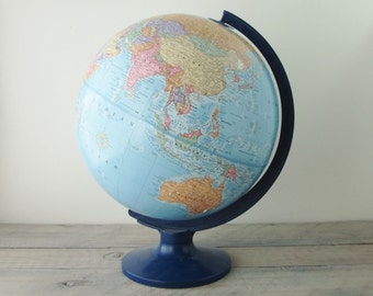 Vintage School House Globe Imperial with Blue Plastic Stand