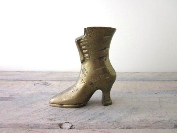 Vintage Brass Victorian Boot Vase