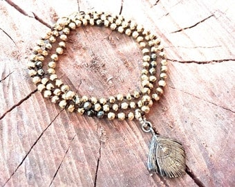 Multi strand Hand Knotted Mixed Metal Pyrite Gemstone Bracelet with Oxidized Sterling Silver Feather Charm