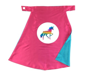 Rainbow Unicorn Superhero Cape Holographic design Hot Pink and Turquoise , 2T - 7T,  pretend play dress-up imaginary play