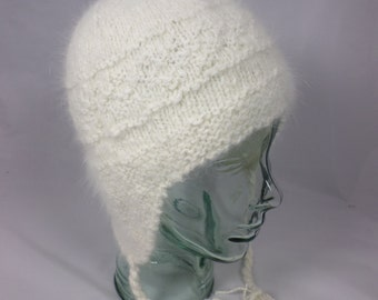 Pure Angora Natural White Ear Flap Hat