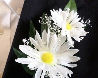 Boutonniere - Silk White Daisy Flower Boutonniere - Floral Boutonniere - Prom Boutonniere