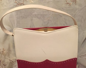Vintage Naturalizer Red/White Spectator Old Fashion Handbag