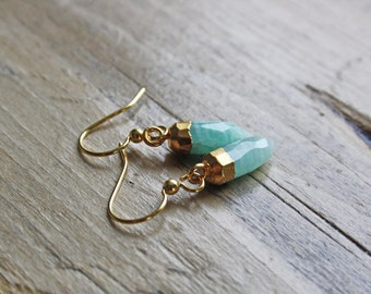 CENOTE Gold Dipped Aqua Amazonite Pendant Earrings