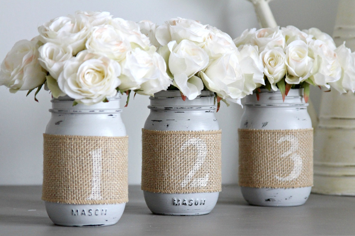 Wedding table numbers rustic decor by