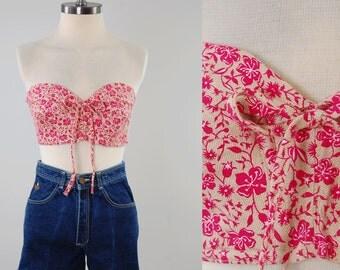 Vintage 50s 60s pink floral bustier top / Perfect summer bra top / size 36 / Unworn deadstock MINT condition
