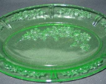 Vintage Sharon, Cabbage Rose Green Oval Platter