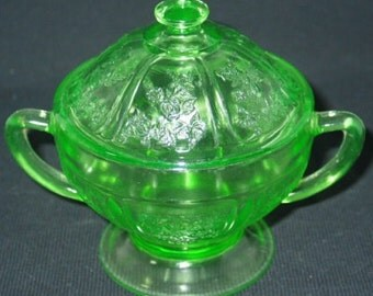 Sharon, Cabbage Rose Green Sugar Dish with Lid