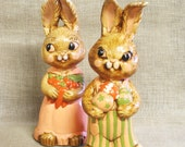 Bunny Figurines , Easter Decor , Rabbit Figurines , Easter Bunny , Male and Female , Rabbits , Couple , Hand Painted , Chalkware , Easter