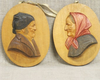 Folk Art Carved Wooden Plaques, Antique Wall Decor, Male Portrait, Female Portrait, Folk Art Wood Carving, Carved Wood, European Carvings