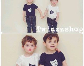 TWIN Comedy/Tragedy Drama Masks TWIN set (bodysuits for twins OR siblings), funny twin shirts