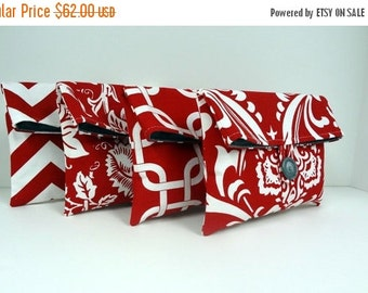 ON SALE Red and Gray Bridesmaid Clutches Bridesmaid Gift Set of 4 Red Clutches