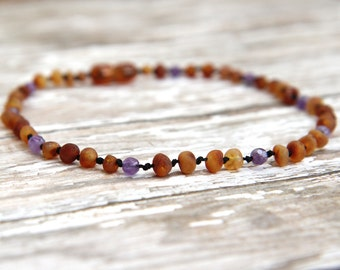Baltic Amber Teething Necklace, unpolished amber, amethyst gemstone jewelry, natural pain relief, teething baby, adult necklace