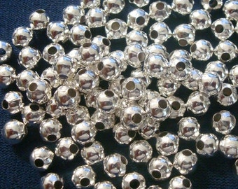 Spacer beads 5mm smooth round silver plated lrg hole jewelry spacer beads fpb191