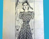 1940 WW II Dress Pattern 4401 Anne Adams in Original Envelope Uncut - Sizes 16 - 34/28/37 - Gay Sport and Sun Tan Dress