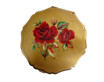 1950s Stratton Convertible Compact in Gold Tone with Roses compact - Large 1950s Powder Compact