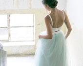 Sea foam green wedding skirt / Floor length mint bridal skirt /  Tulle skirt bridal separates / chiffon bridesmaids skirt