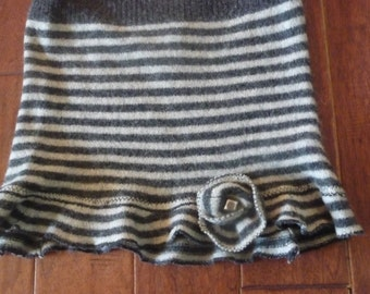 Upcycled Felted Sweater Skirt Gray Stripe Wool Small Free US Ship