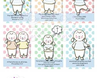 Precious Little Lamb, Verse cards, Instant Download, Printable Bible Verse, Prayer cards, Bible Verse, Scripture Art, Printable Prayer Cards
