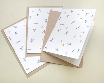 Set of 3 Season's Greeting Cards »fir branch with pine nuts«   Botanical Cards   Greeting Cards   STUDIO KARAMELO